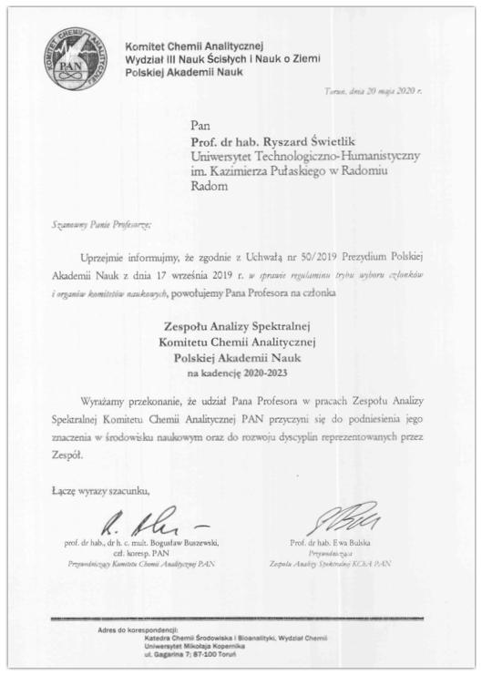 Powołanie prof. R.Świetlika do Komitetu Chemii Analitycznej PAN